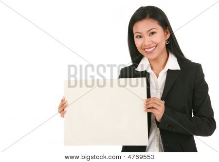 Young Business Woman Holding Blank Board
