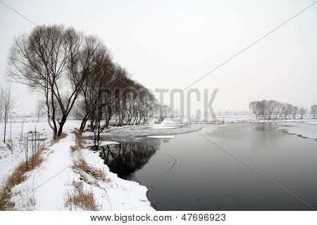 Pond Scenery In The Snow In Rural