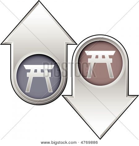 Shinto Religious Icon On Up And Down Arrow Buttons