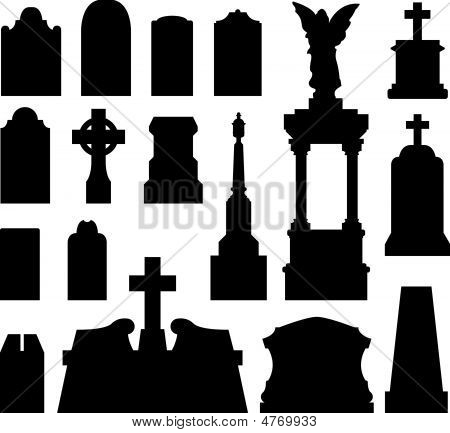 Headstones For Graves In Vector