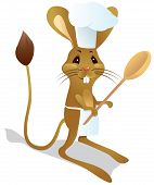 Jerboa chef with spoon in chef's hat. The color vector illustration poster