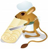 Jerboa chef cuts dough on slices. The color vector illustration poster