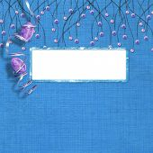 Easter frame with paint eggs and purple beads poster