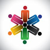 colorful abstract people community as cog wheels- simple vector graphic. This illustration can also represent social media concept of interdependent community of people working together poster