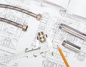plumbing and drawings are on the desktop, workspace engineer poster