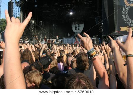 SCHLESWIG-HOLSTEIN, GERMANY - JULY 31: Crowd of people at Wacken Open Air, world's largest open air