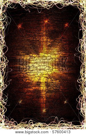 poster of Design template -  Star, sun with lens flare. Rays Yellow of light on a red wooden background
