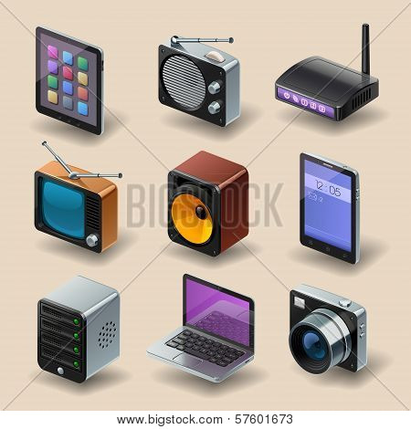 detailed media and technology vector icon set poster