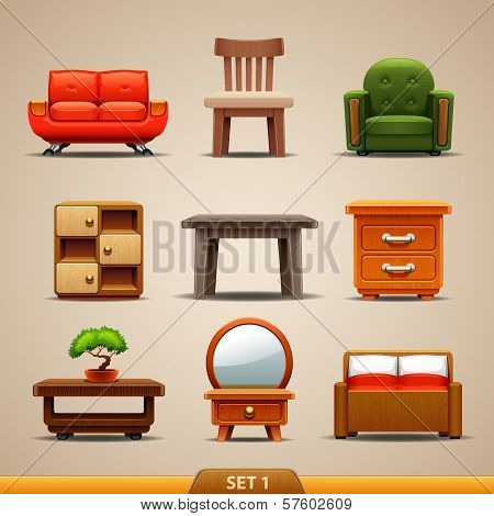 Furniture icons-set 1. Vector illustration on background poster