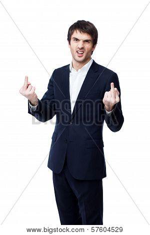 Businessman showing middle finger. This image has attached release. poster