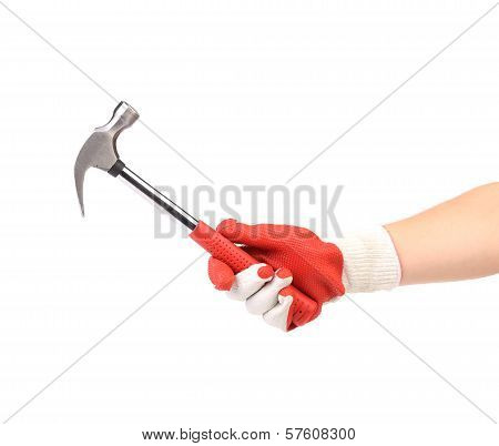 Hand in glove holding metal hammer. Isolated on a white background. poster