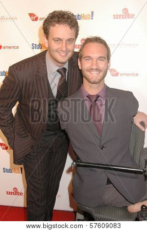 Nick Vujicic and Aaron Vujicic  at the Rock The Kasbah Gala to benefit Virgin Unite and the Eve Branson Foundation. Vibiana, Los Angeles, CA. 10-26-09