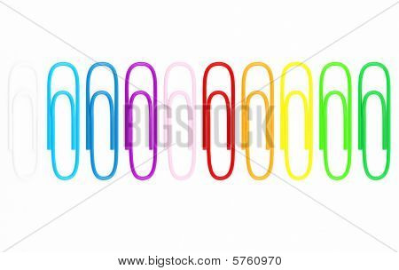Detailed paperclips in various colors.