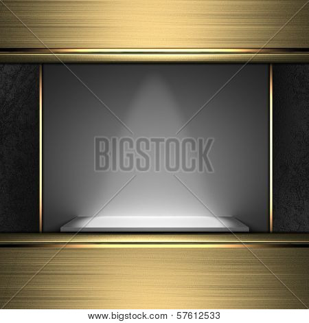 Design template - Exhibition stand with golden edges. poster