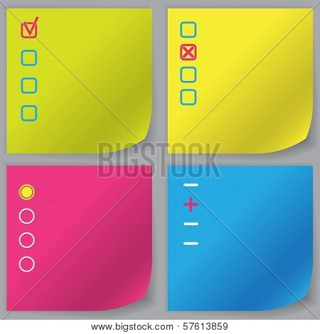 Set of four vector empty check list poster