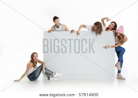 Group of people with a whiteboard on a white background