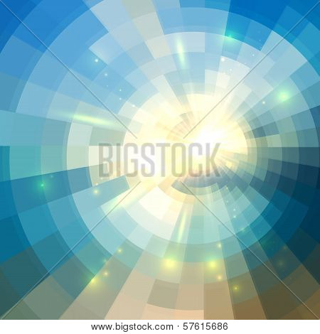 Blue vector winter sunshine in mosaic glass window poster
