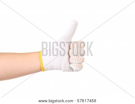 Thumbs up in a thin work glove