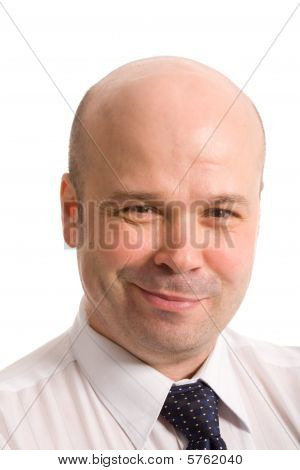 closeup portrait of the bald-headed man on a white background poster
