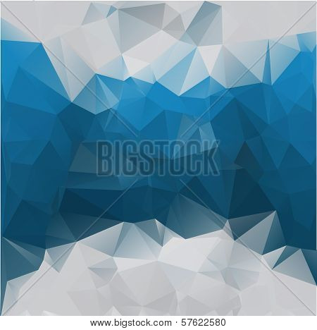 Abstract polygonal blue vector background of triangles. Eps 10. poster