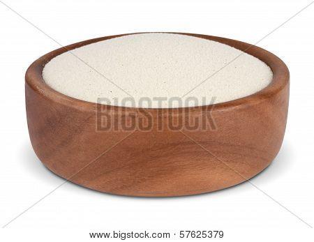 Semolina In A Wooden Bowl