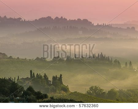 Tuscany Village Landscape On A Hazy Morning In August