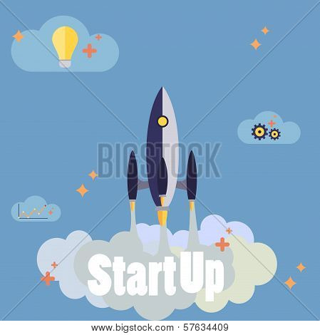 Startup New Business Project With Rocket Image Development And Launch A New Innovation Product On A
