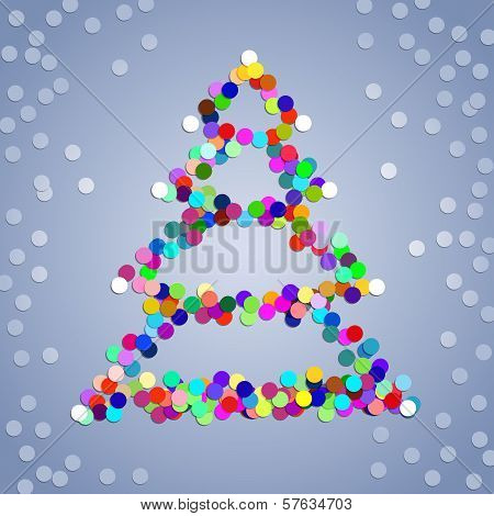 Christmas colorful confetti tree on the grey background poster