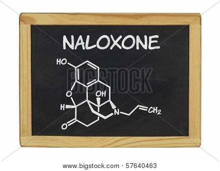 chemical formula of naloxone on a blackboard