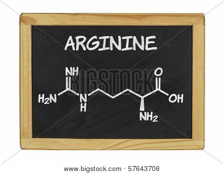 chemical formula of arginine on a blackboard