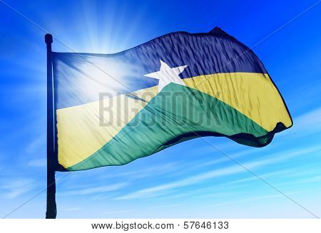 Rondonia (Brazil) flag waving on the wind