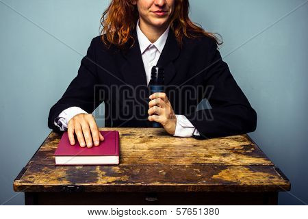 Female Author At Her Book Signing