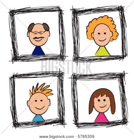 Happy Family Portrait Skizze