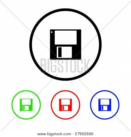 Disk Icon Illustration with Four Color Variations poster