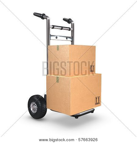 Hand Truck Upright With Two Boxes