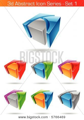 Vector EPS illustration of 3d Abstract Icon Series - Set 1 poster