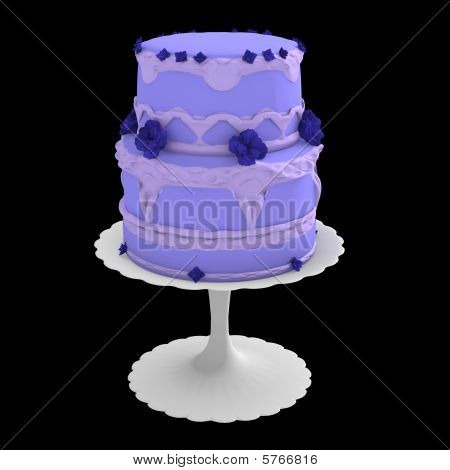Blue Two Layer Cake - 3D Computer Generated