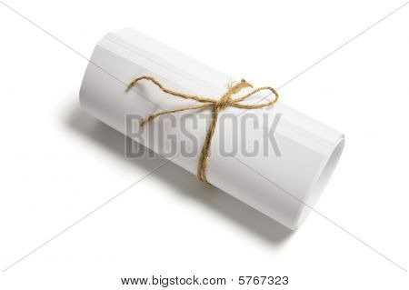 Roll Of Papers Tied With String