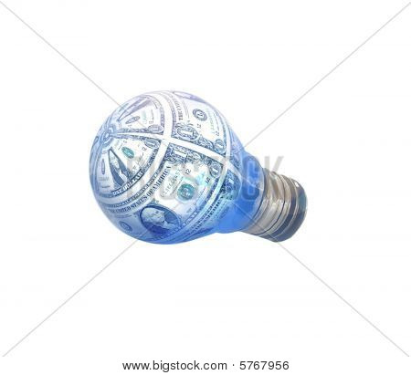 Light Bulb with One dollar bills