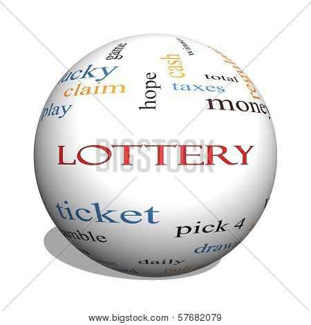Lottery 3D Sphere Word Cloud Concept