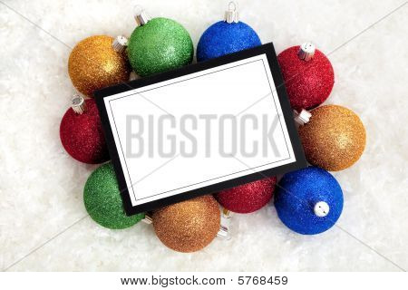 Chrismas Notecard Or Message With Baubles