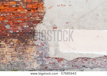 Old grunge wall background texture with bricks and stucco poster