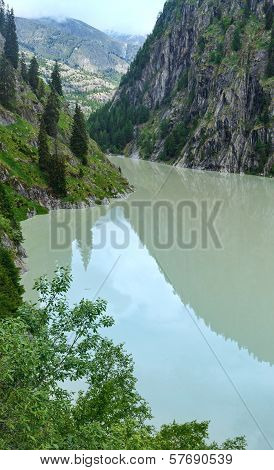 Summer Mountain Canyon And Dam (alps, Switzerland)