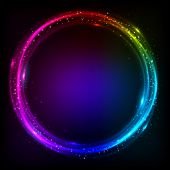 Shining rainbow colors circles cosmic vector background poster