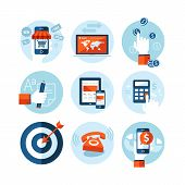 Set of modern flat design icons on e-commerce theme. Icons for online shopping, internet marketing, refferal marketing, computer and mobile phone apps, finance, planning, strategy and advertising. poster