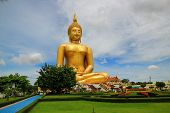 Big Buddha Statue.The Temple Name Wat Muang At Province Ang Thong in Thailand. poster
