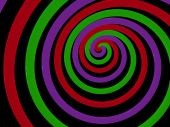 three colored neon light spiral abstract. 3d poster