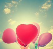 Heart Balloons For Valentines Day Background