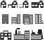 set of buildings: office house factory  on white background. poster