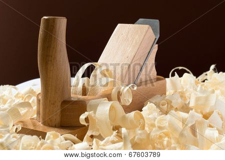 Wooden Jointer With Shavings